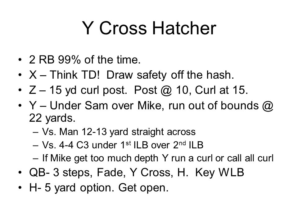 Y Cross Hatcher 2 RB 99% of the time. X – Think TD! Draw safety off the hash. Z – 15 yd curl post. Post @ 10, Curl at 15. Y – Under Sam over Mike, run
