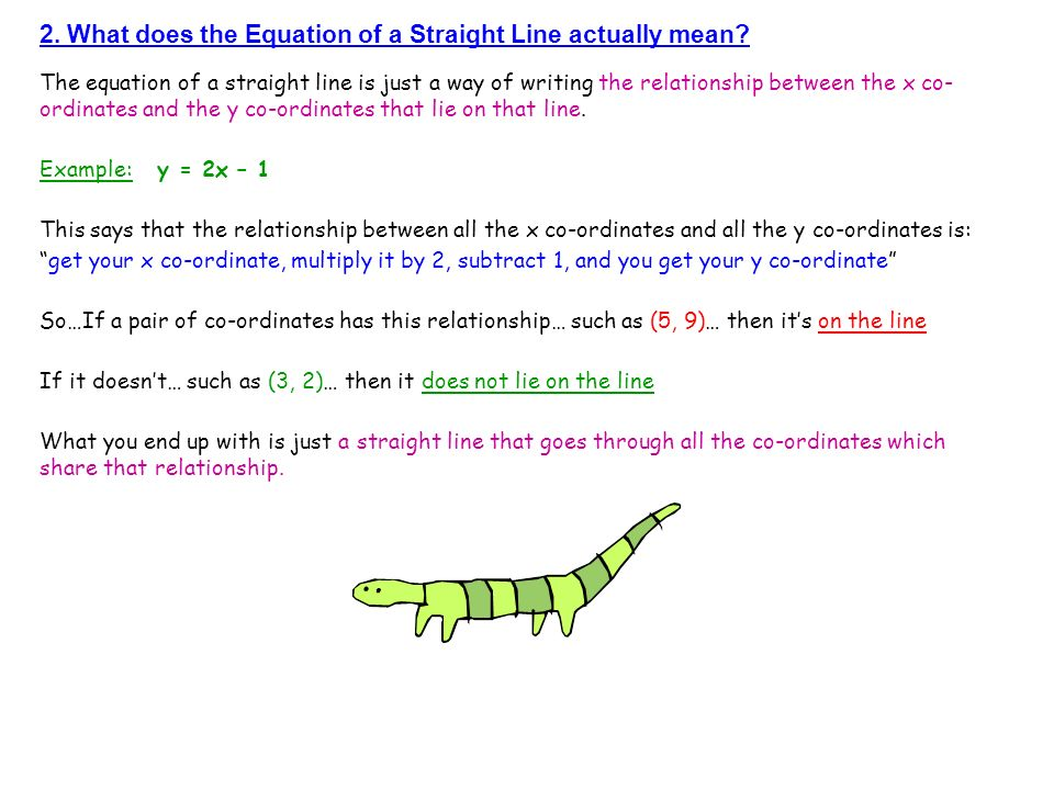 2. What does the Equation of a Straight Line actually mean? The equation of a straight line is just a way of writing the relationship between the x co