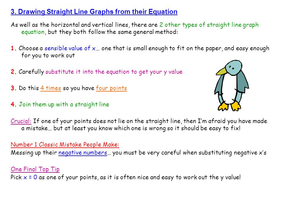 3. Drawing Straight Line Graphs from their Equation As well as the horizontal and vertical lines, there are 2 other types of straight line graph equat