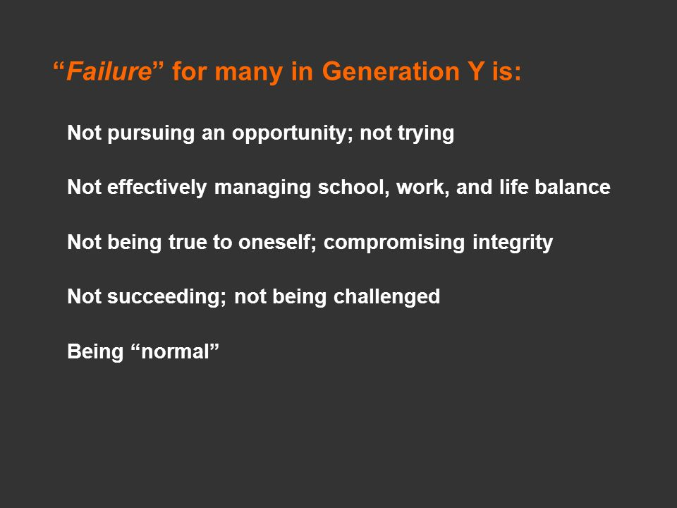 Failure for many in Generation Y is: Not pursuing an opportunity; not trying Not effectively managing school, work, and life balance Not being true to