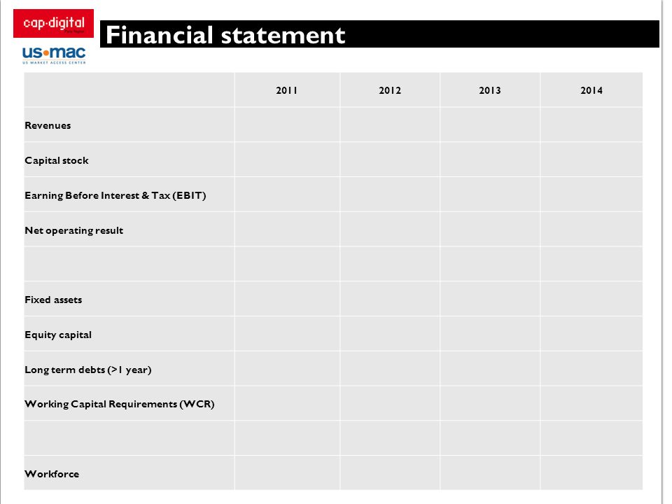 Financial statement 2011201220132014 Revenues Capital stock Earning Before Interest & Tax (EBIT) Net operating result Fixed assets Equity capital Long