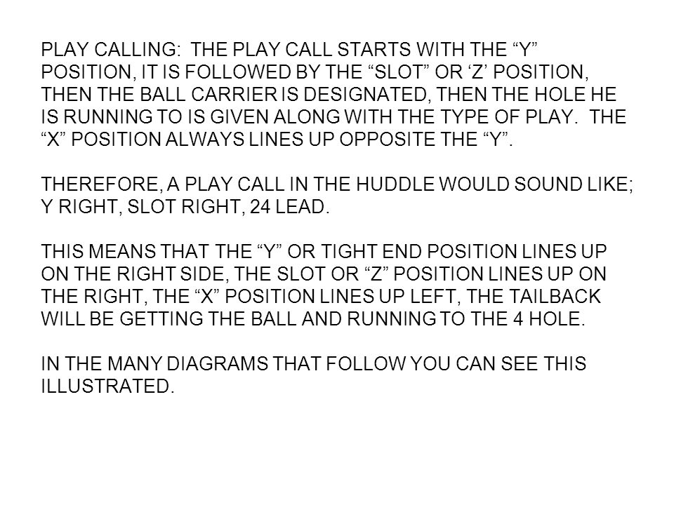 PLAY CALLING: THE PLAY CALL STARTS WITH THE Y POSITION, IT IS FOLLOWED BY THE SLOT OR Z POSITION, THEN THE BALL CARRIER IS DESIGNATED, THEN THE HOLE H