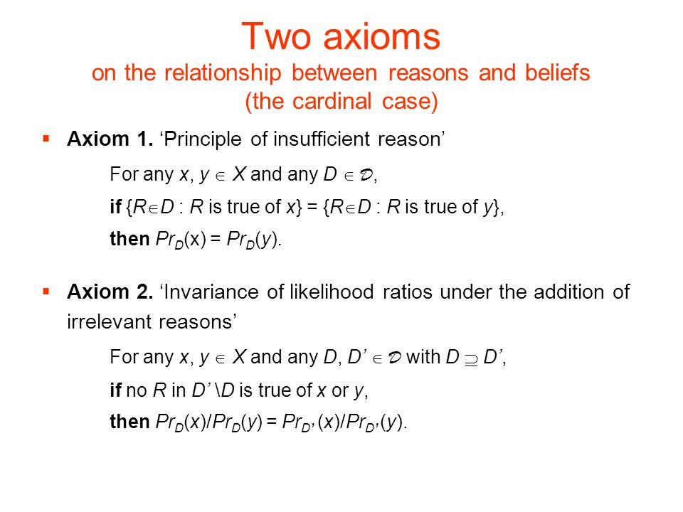 Two axioms on the relationship between reasons and beliefs (the cardinal case) Axiom 1.