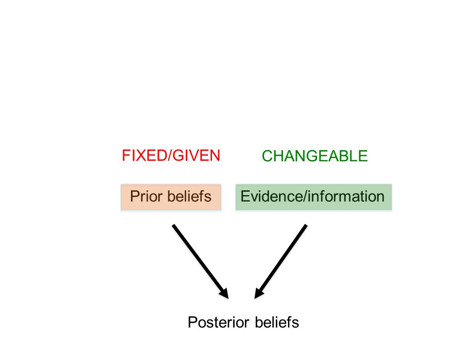 Posterior beliefs Prior beliefsEvidence/information FIXED/GIVEN CHANGEABLE