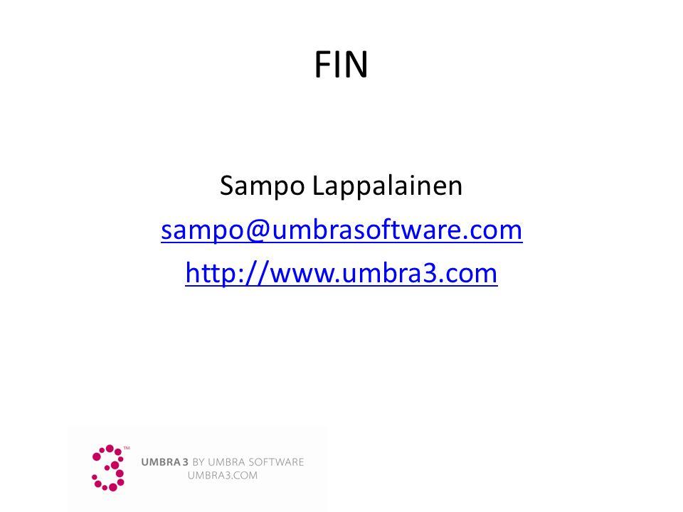 FIN Sampo Lappalainen sampo@umbrasoftware.com http://www.umbra3.com
