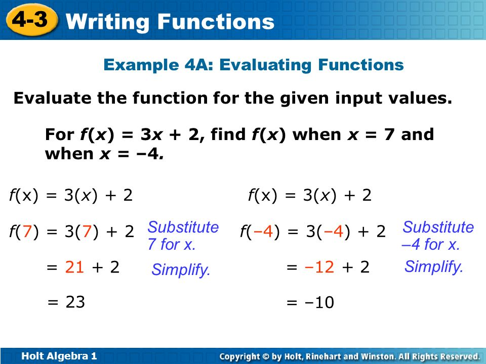 Holt Algebra 1 4-3 Writing Functions Example 4A: Evaluating Functions Evaluate the function for the given input values. For f(x) = 3x + 2, find f(x) w