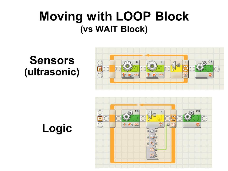 Moving with LOOP Block (vs WAIT Block) Sensors (ultrasonic) Logic