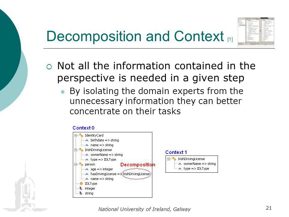 National University of Ireland, Galway 21 Decomposition and Context [1] Not all the information contained in the perspective is needed in a given step By isolating the domain experts from the unnecessary information they can better concentrate on their tasks