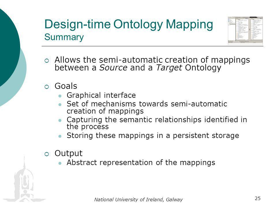 National University of Ireland, Galway 25 Design-time Ontology Mapping Summary Allows the semi-automatic creation of mappings between a Source and a Target Ontology Goals Graphical interface Set of mechanisms towards semi-automatic creation of mappings Capturing the semantic relationships identified in the process Storing these mappings in a persistent storage Output Abstract representation of the mappings