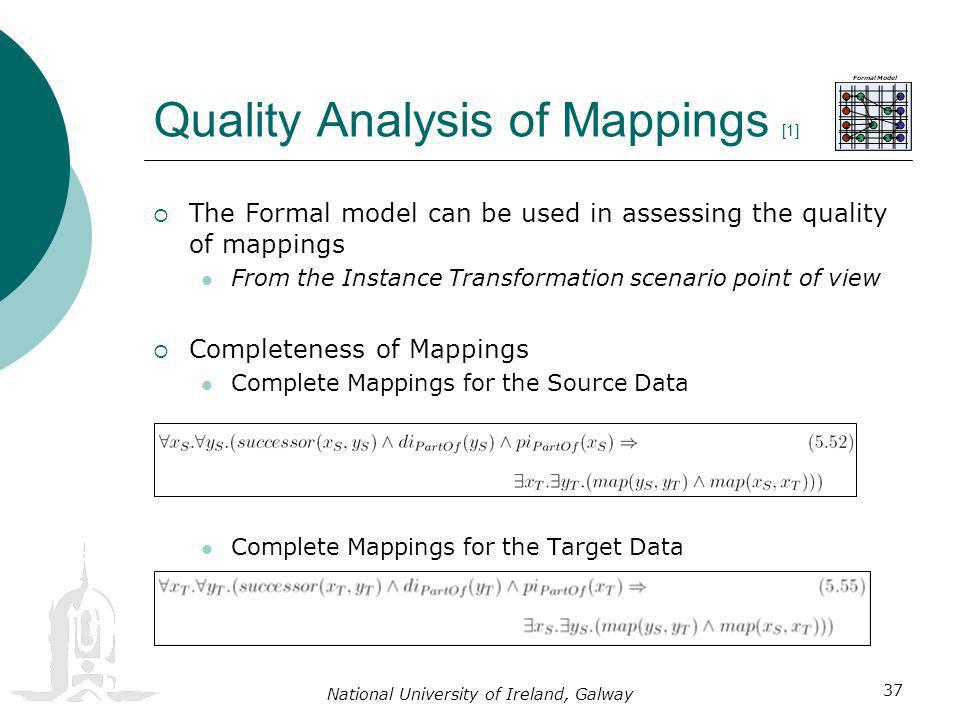 National University of Ireland, Galway 37 The Formal model can be used in assessing the quality of mappings From the Instance Transformation scenario point of view Completeness of Mappings Complete Mappings for the Source Data Complete Mappings for the Target Data Quality Analysis of Mappings [1]