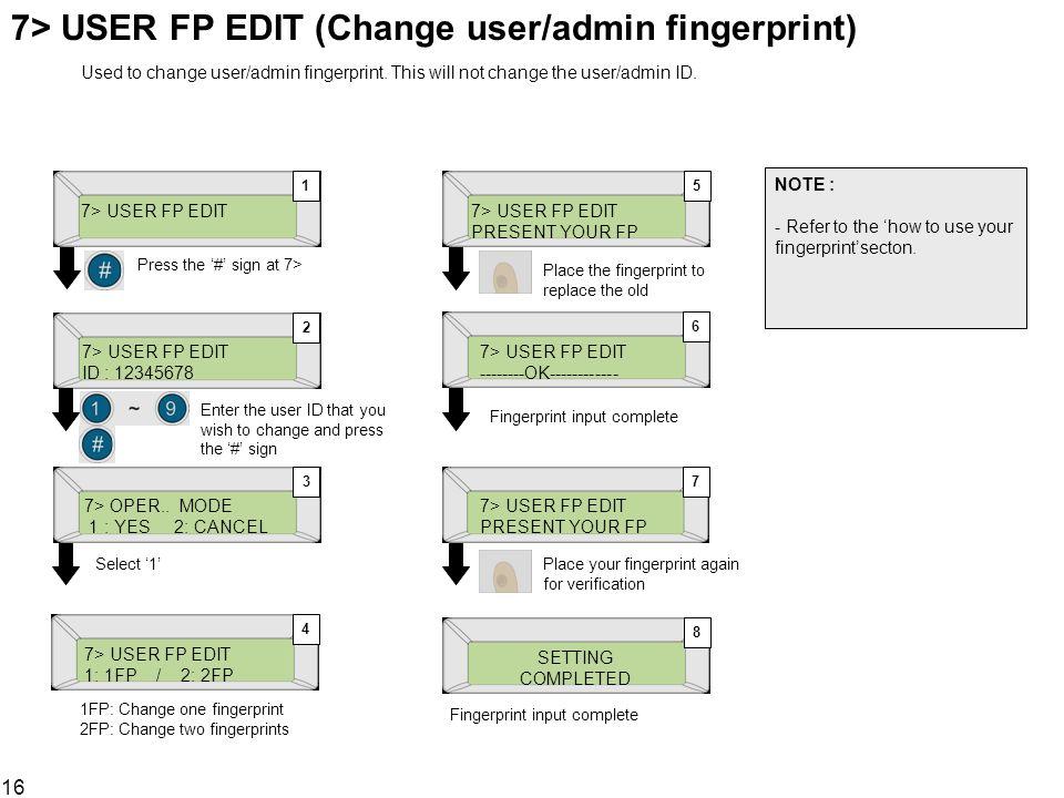 16 7> USER FP EDIT (Change user/admin fingerprint) 7> USER FP EDIT ID : 12345678 7> OPER.. MODE 1 : YES 2: CANCEL 1 2 3 Press the # sign at 7> Enter t