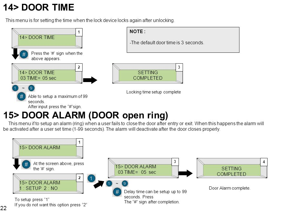 22 14> DOOR TIME This menu is for setting the time when the lock device locks again after unlocking. 14> DOOR TIME Press the # sign when the above app
