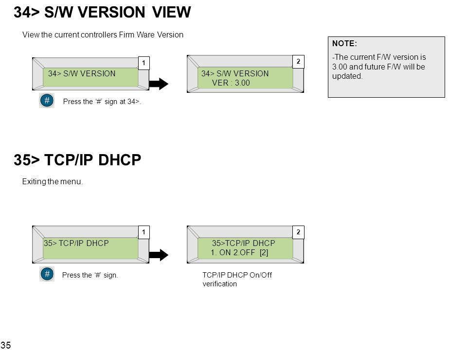 35 34> S/W VERSION VIEW 34> S/W VERSION VER : 3.00 View the current controllers Firm Ware Version NOTE: -The current F/W version is 3.00 and future F/