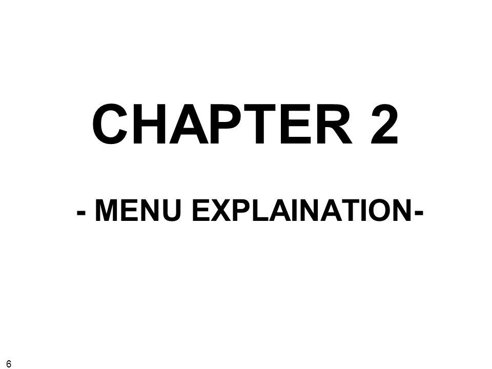 6 CHAPTER 2 - MENU EXPLAINATION-