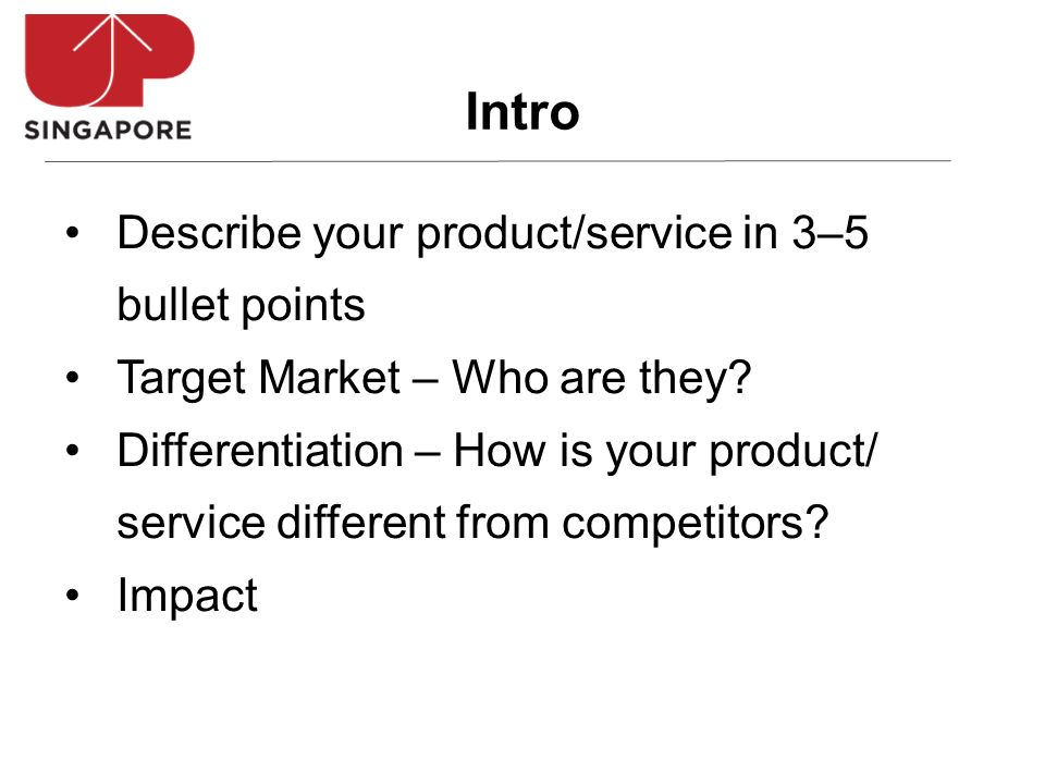 Describe your product/service in 3–5 bullet points Target Market – Who are they? Differentiation – How is your product/ service different from competi