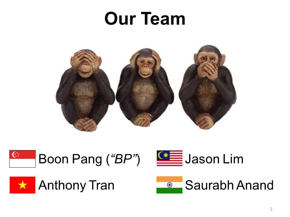 2 Our Team Boon Pang (BP) Anthony Tran Jason Lim Saurabh Anand