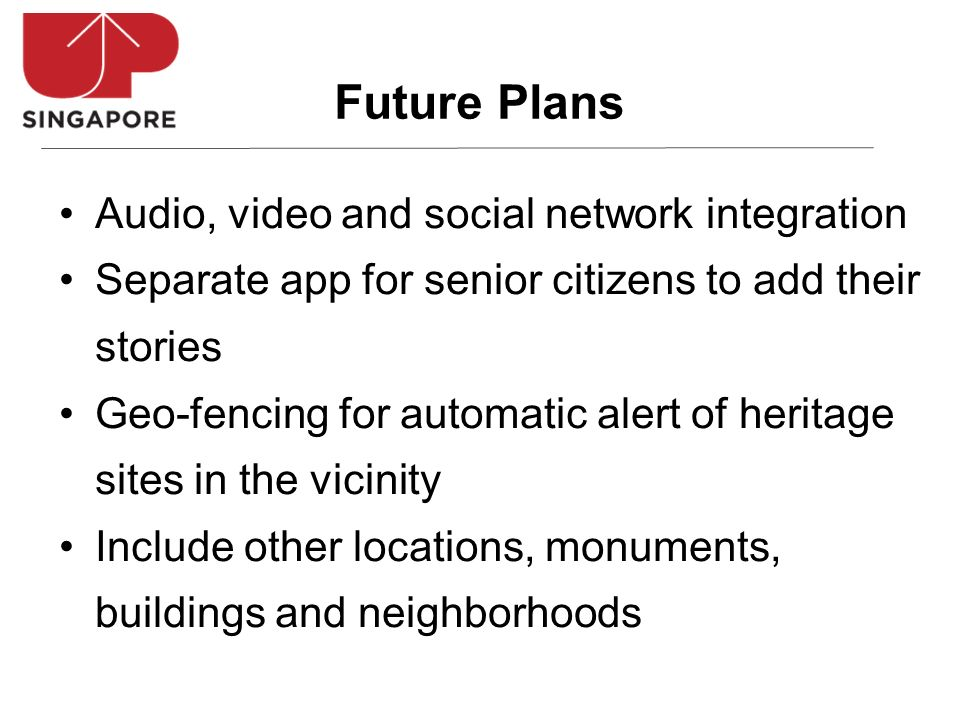 Audio, video and social network integration Separate app for senior citizens to add their stories Geo-fencing for automatic alert of heritage sites in