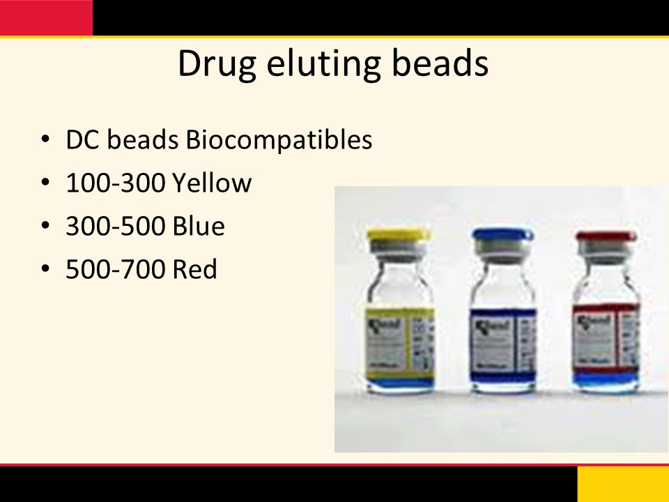 Drug eluting beads DC beads Biocompatibles 100-300 Yellow 300-500 Blue 500-700 Red