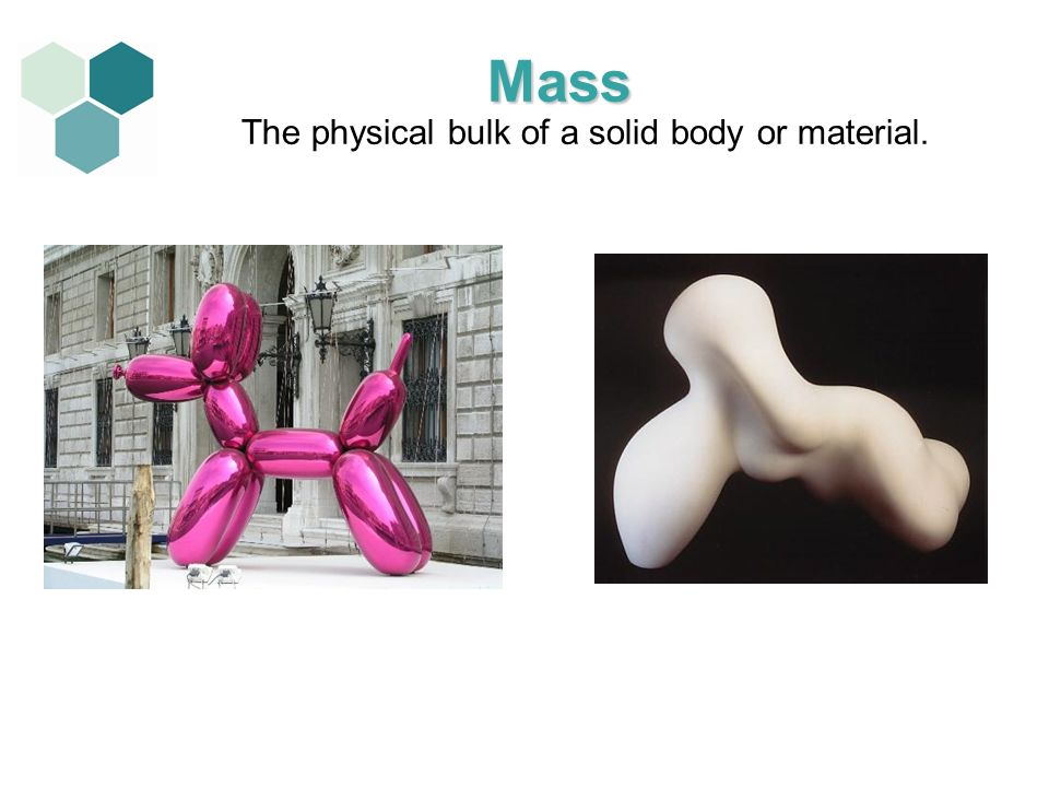 The physical bulk of a solid body or material. Mass