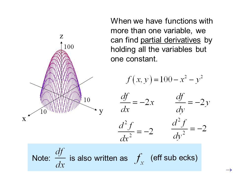 y x z 10 100 When we have functions with more than one variable, we can find partial derivatives by holding all the variables but one constant. Note:i
