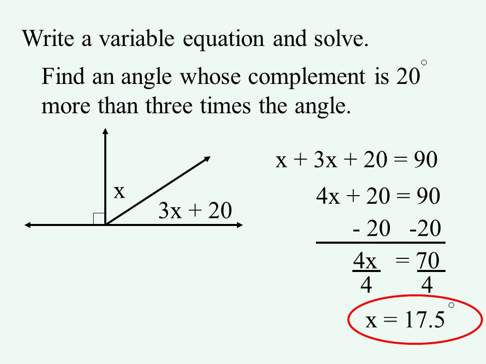 Write a variable equation and solve. Find an angle whose complement is 20 more than three times the angle. x 3x + 20 x + 3x + 20 = 90 4x + 20 = 90 - 2