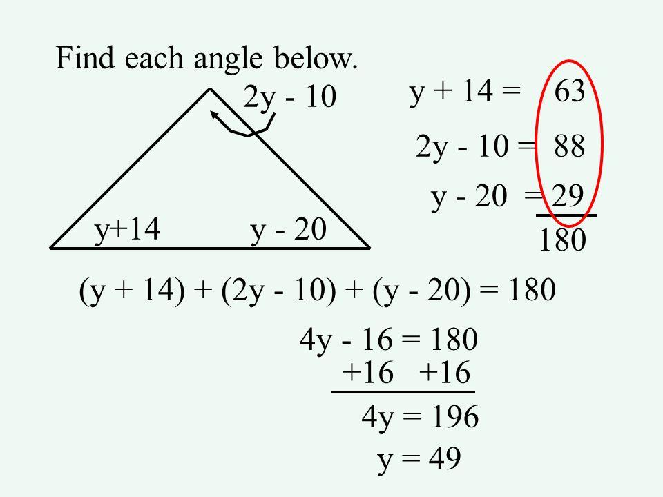 Find each angle below. y+14 y - 20 2y - 10 (y + 14) + (2y - 10) + (y - 20) = 180 4y - 16 = 180 +16 4y = 196 y = 49 y + 14 = 63 2y - 10 = 88 y - 20 = 2