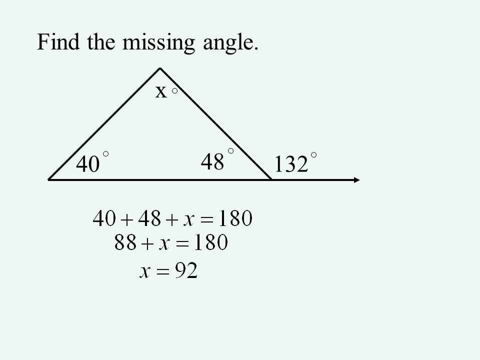 Find the missing angle. 40132 x 48