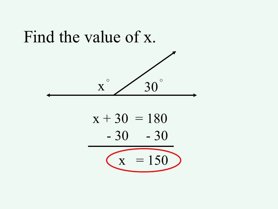 Find the value of x. x 30 x + 30 = 180 - 30 x = 150