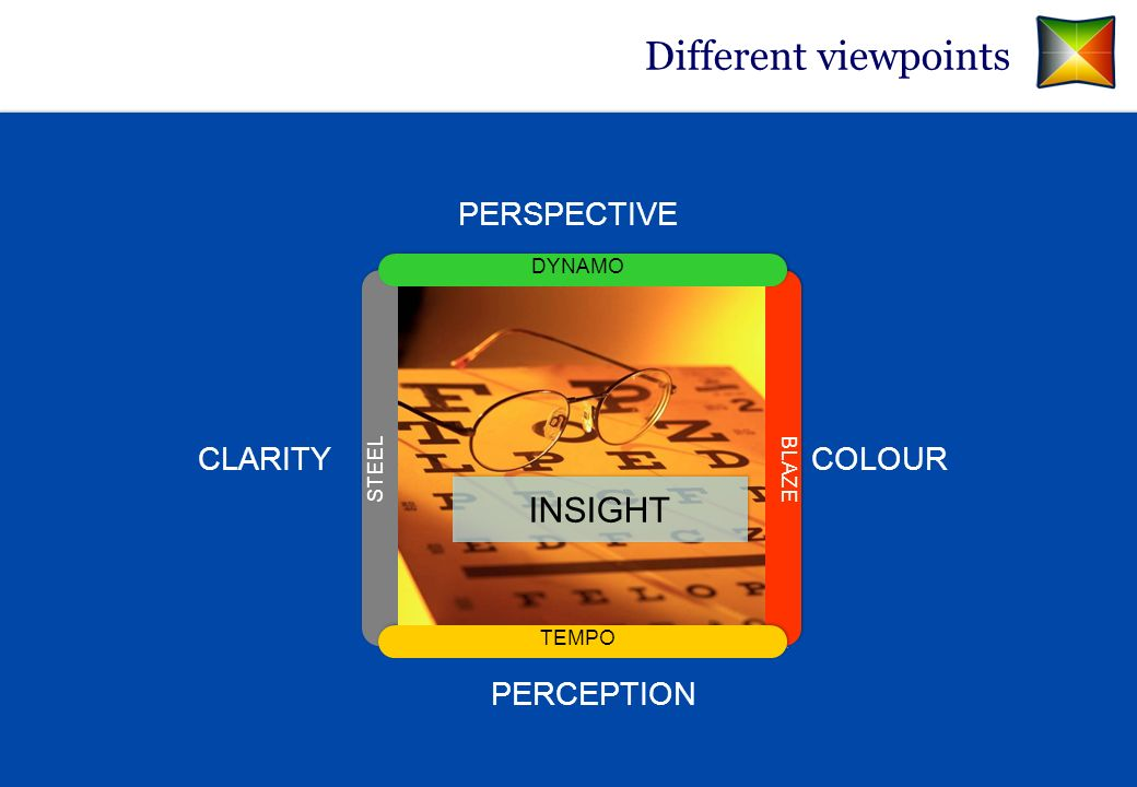 Different viewpoints PERSPECTIVE CLARITY PERCEPTION COLOUR TEMPO BLAZE DYNAMO STEEL INSIGHT