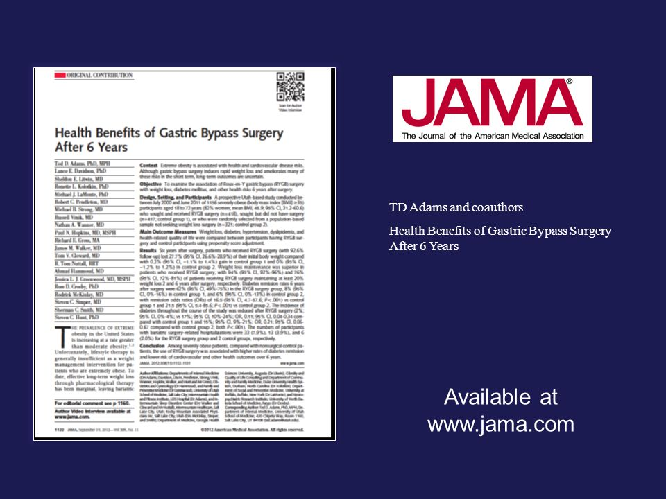 Available at www.jama.com TD Adams and coauthors Health Benefits of Gastric Bypass Surgery After 6 Years