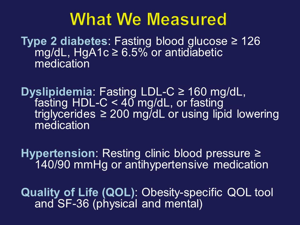Type 2 diabetes: Fasting blood glucose 126 mg/dL, HgA1c 6.5% or antidiabetic medication Dyslipidemia: Fasting LDL-C 160 mg/dL, fasting HDL-C < 40 mg/d