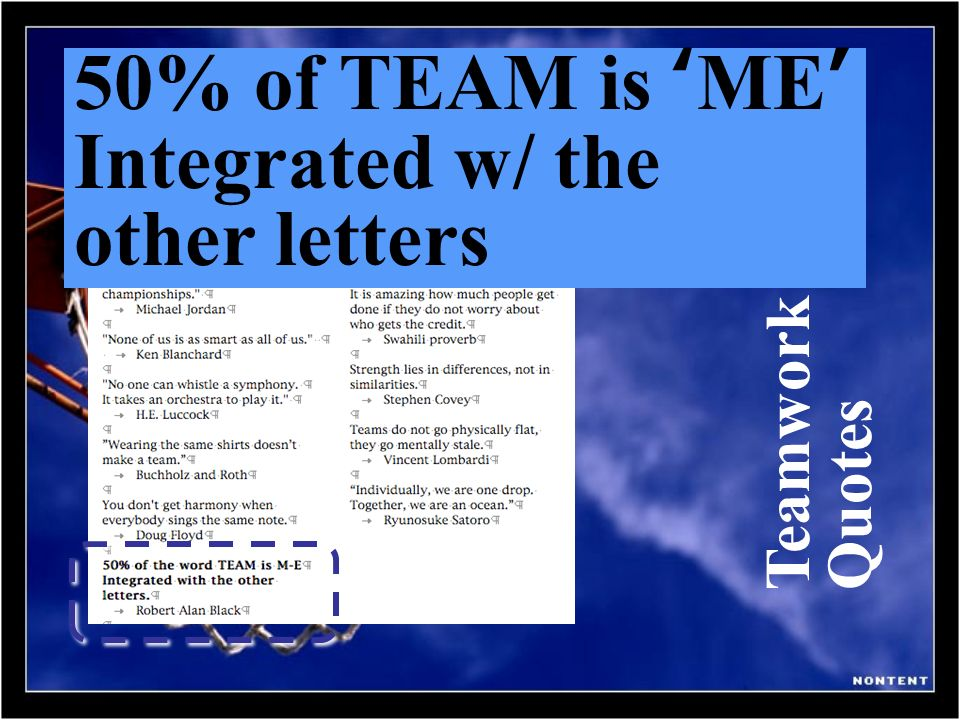 Teamwork Quotes 50% of TEAM is ME Integrated w/ the other letters