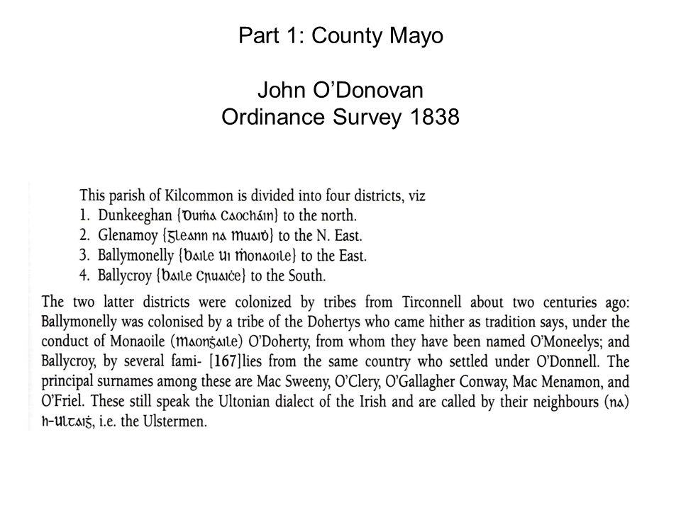 Part 1: County Mayo John ODonovan Ordinance Survey 1838