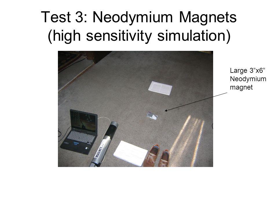 Test 3: Neodymium Magnets (high sensitivity simulation) Large 3x6 Neodymium magnet
