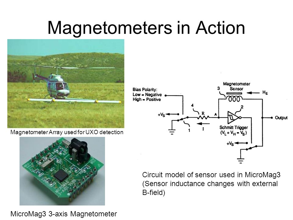 Magnetometers in Action Magnetometer Array used for UXO detection MicroMag3 3-axis Magnetometer Circuit model of sensor used in MicroMag3 (Sensor indu