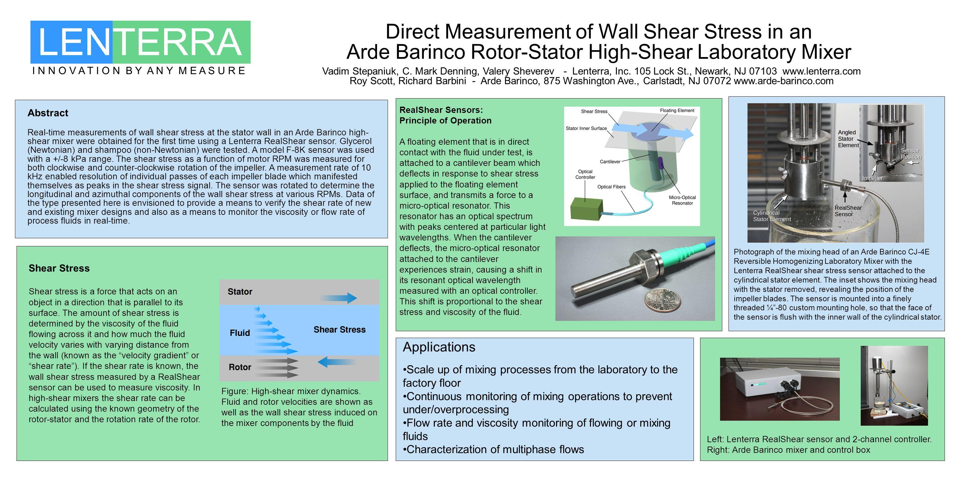 I N N O V A T I O N B Y A N Y M E A S U R E Direct Measurement of Wall Shear Stress in an Arde Barinco Rotor-Stator High-Shear Laboratory Mixer Vadim