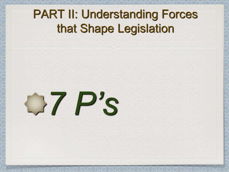 PART II: Understanding Forces that Shape Legislation 7 Ps