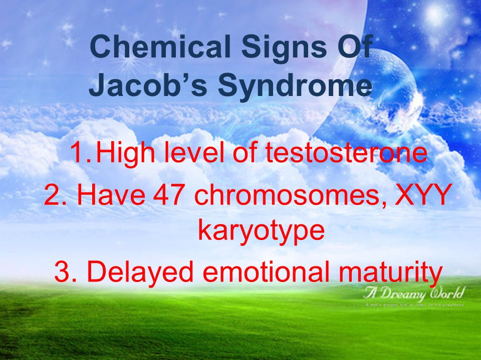 Explanation. XYY syndrome is an aneuploidy of the sex chromosomes in which a human male receives an extra Y chromosomes, giving a total of 47 chromoso