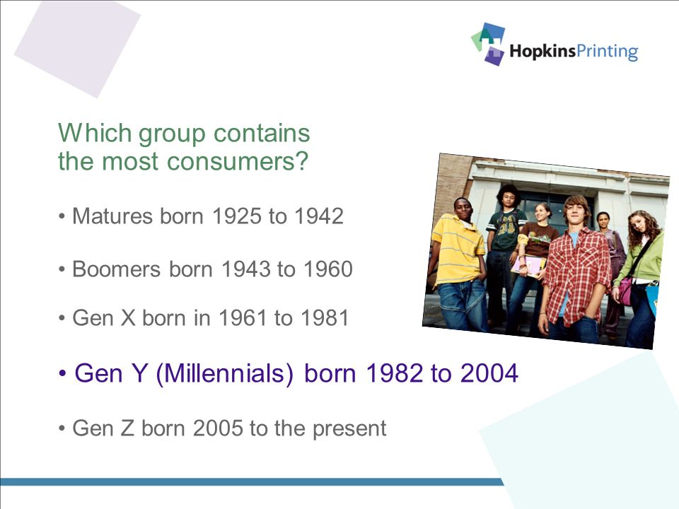 Which group contains the most consumers.