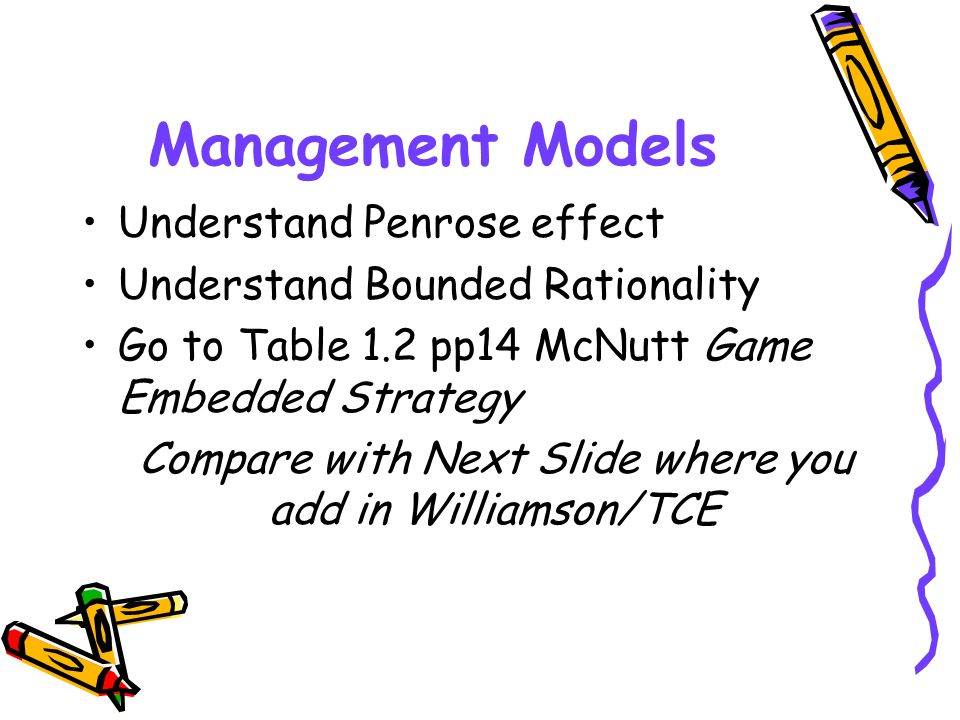 Management Models Understand Penrose effect Understand Bounded Rationality Go to Table 1.2 pp14 McNutt Game Embedded Strategy Compare with Next Slide