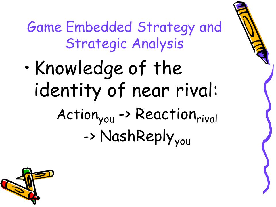 Game Embedded Strategy and Strategic Analysis Knowledge of the identity of near rival: Action you -> Reaction rival -> NashReply you