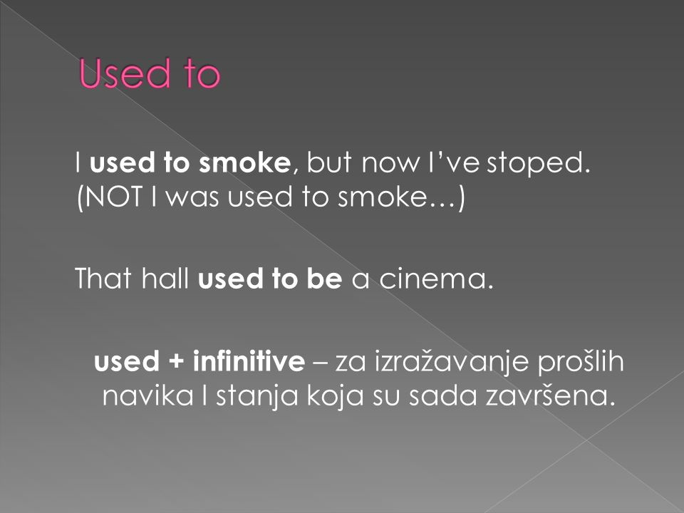 I used to smoke, but now Ive stoped. (NOT I was used to smoke…) That hall used to be a cinema.