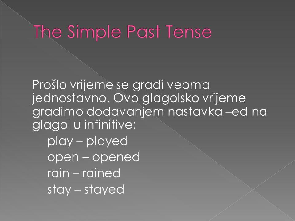 Prošlo vrijeme se gradi veoma jednostavno. Ovo glagolsko vrijeme gradimo dodavanjem nastavka –ed na glagol u infinitive: play – played open – opened r