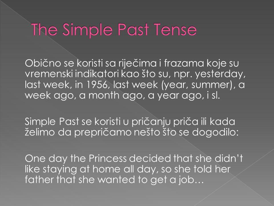 Obično se koristi sa riječima i frazama koje su vremenski indikatori kao što su, npr.