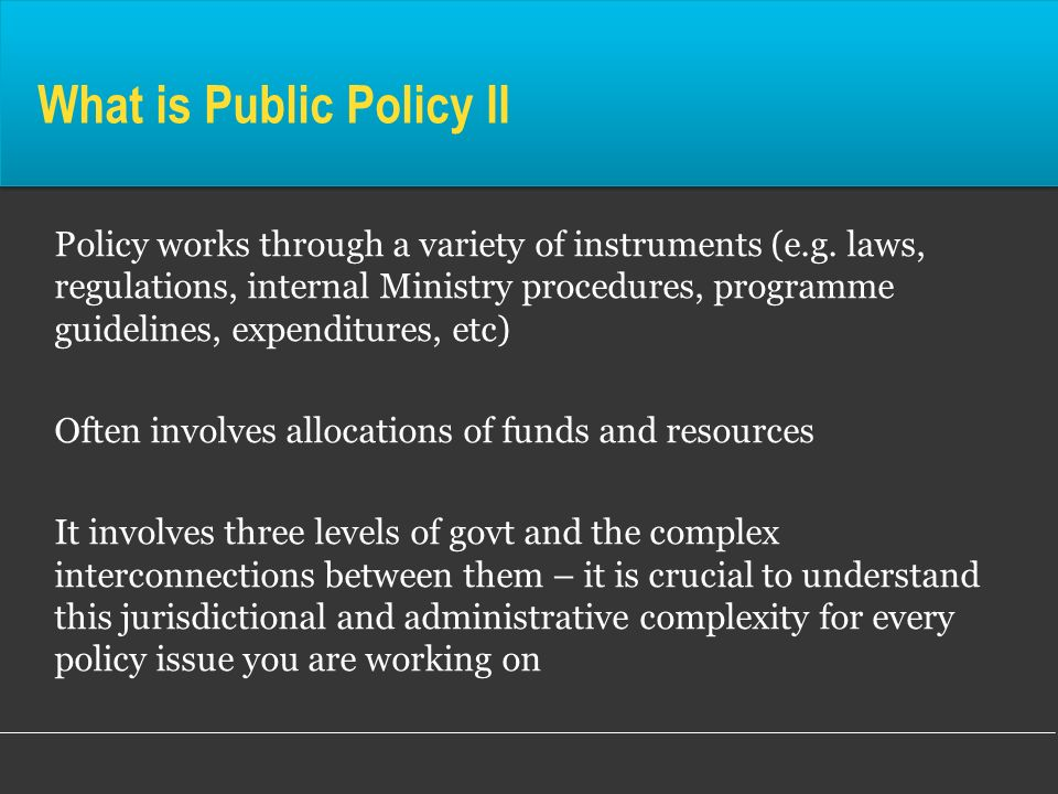 What is Public Policy II Policy works through a variety of instruments (e.g. laws, regulations, internal Ministry procedures, programme guidelines, ex