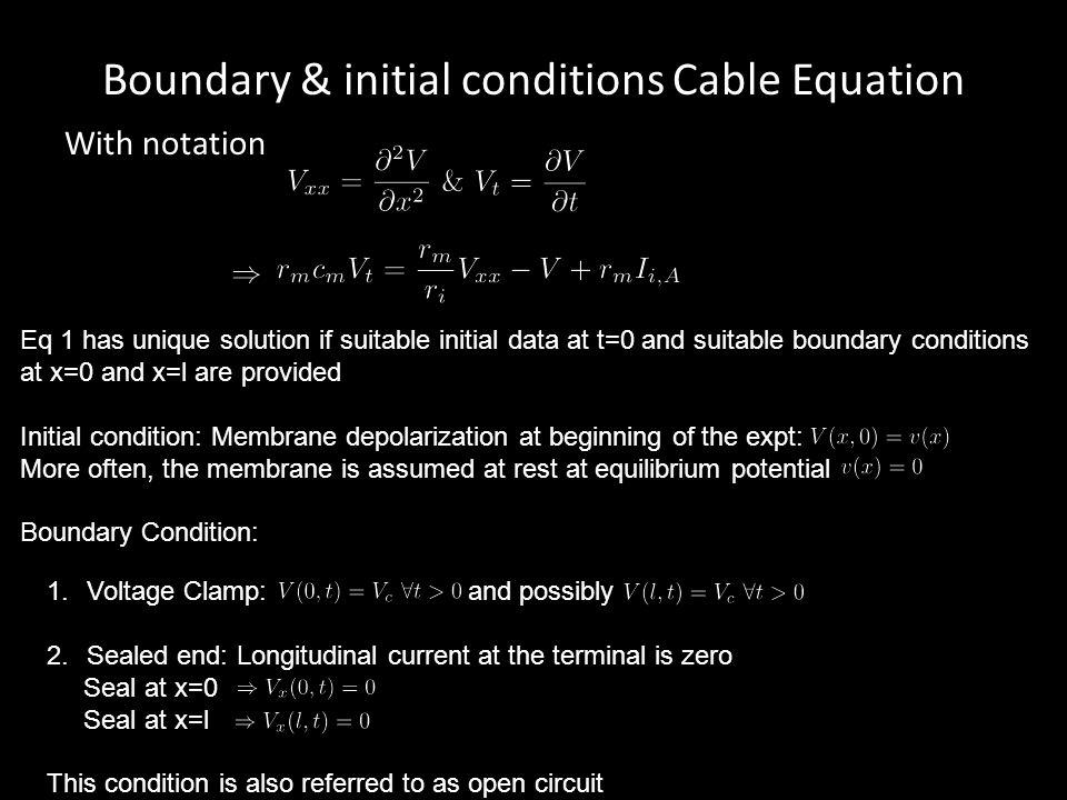Boundary & initial conditions Cable Equation With notation Eq 1 has unique solution if suitable initial data at t=0 and suitable boundary conditions a
