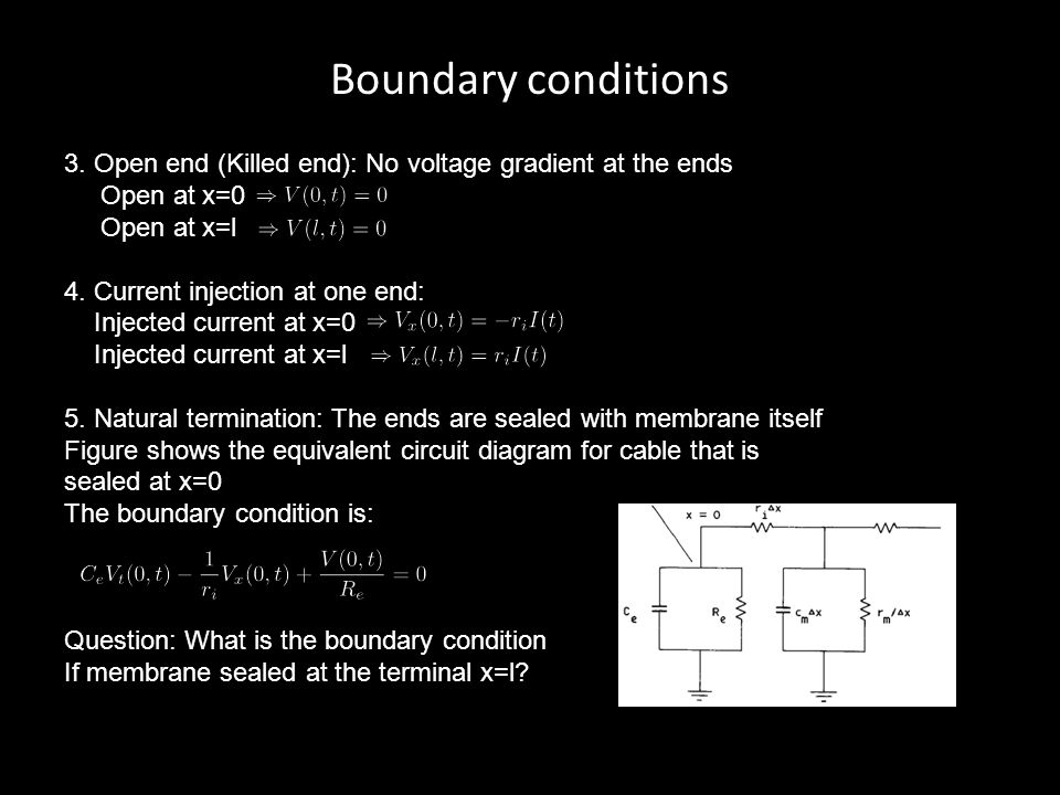 Boundary conditions 3. Open end (Killed end): No voltage gradient at the ends Open at x=0 Open at x=l 4. Current injection at one end: Injected curren