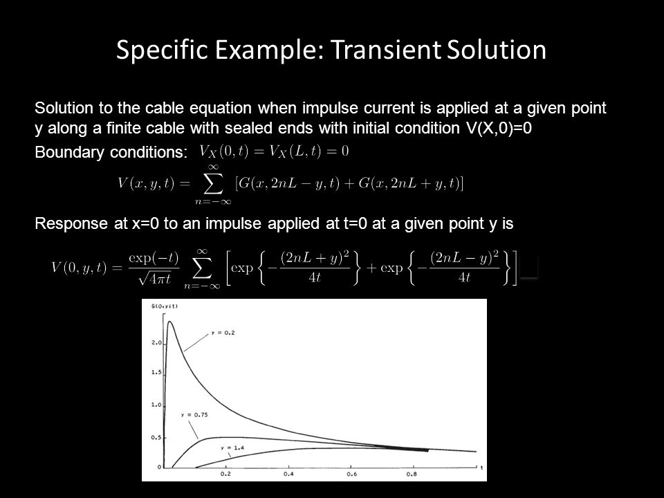 Specific Example: Transient Solution Solution to the cable equation when impulse current is applied at a given point y along a finite cable with seale