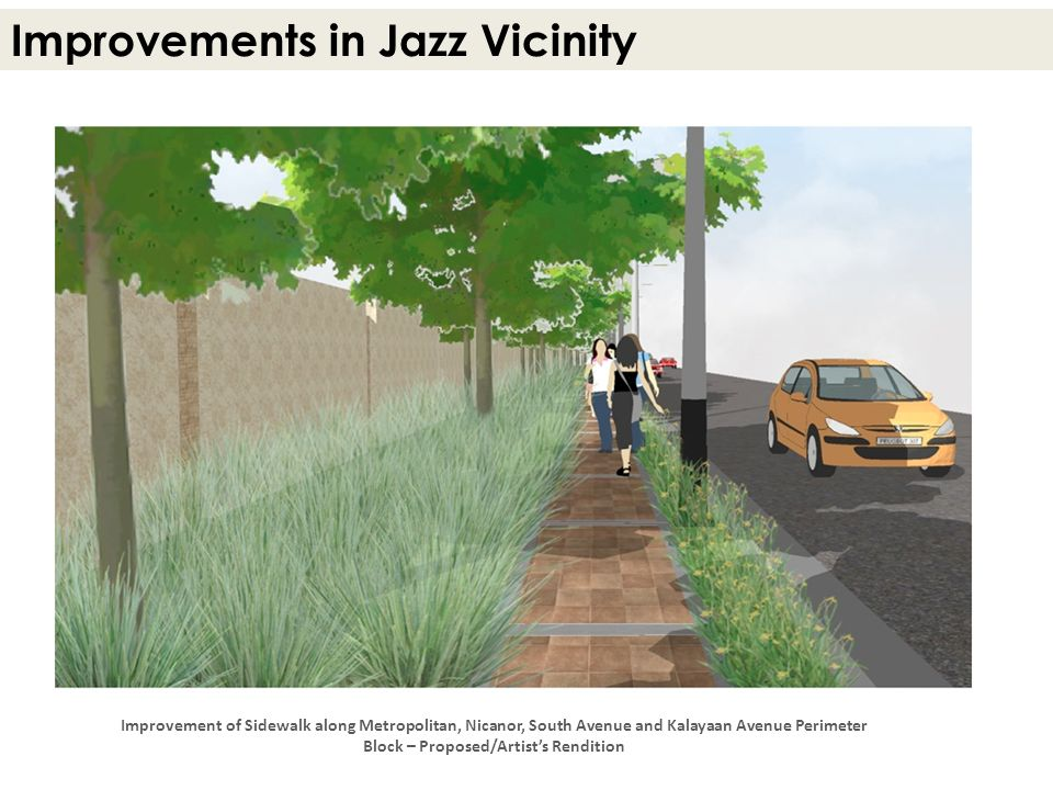 Improvements in Jazz Vicinity Improvement of Sidewalk along Metropolitan, Nicanor, South Avenue and Kalayaan Avenue Perimeter Block – Proposed/Artists