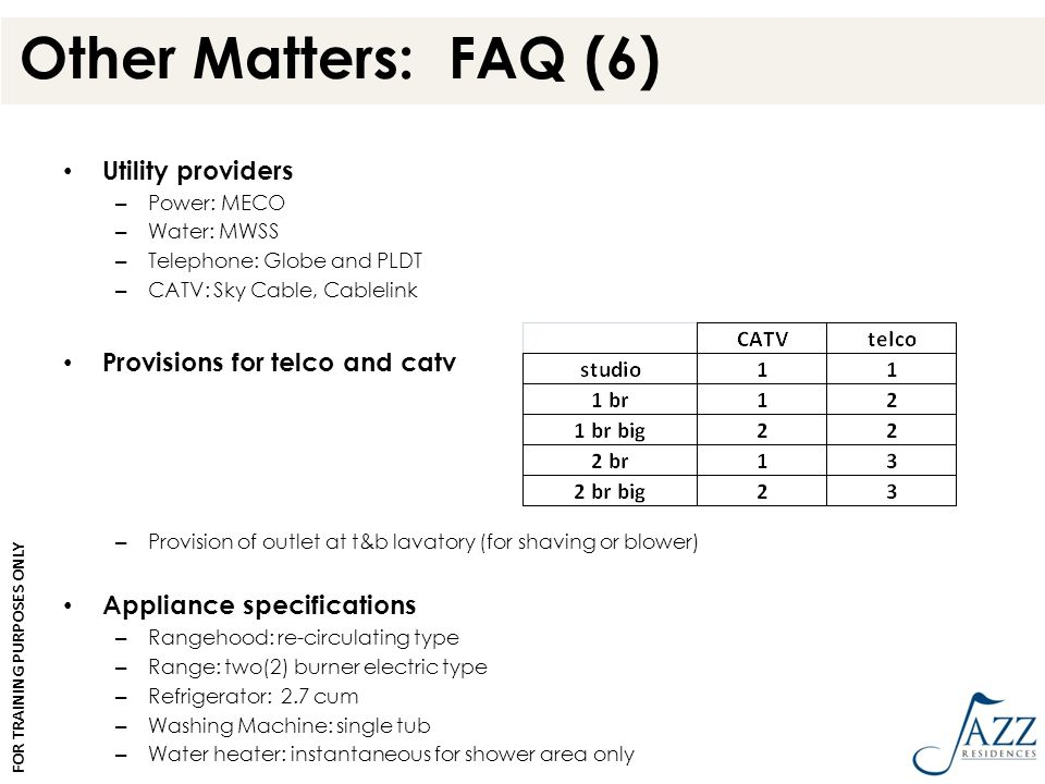 Other Matters: FAQ (6) Utility providers – Power: MECO – Water: MWSS – Telephone: Globe and PLDT – CATV: Sky Cable, Cablelink Provisions for telco and